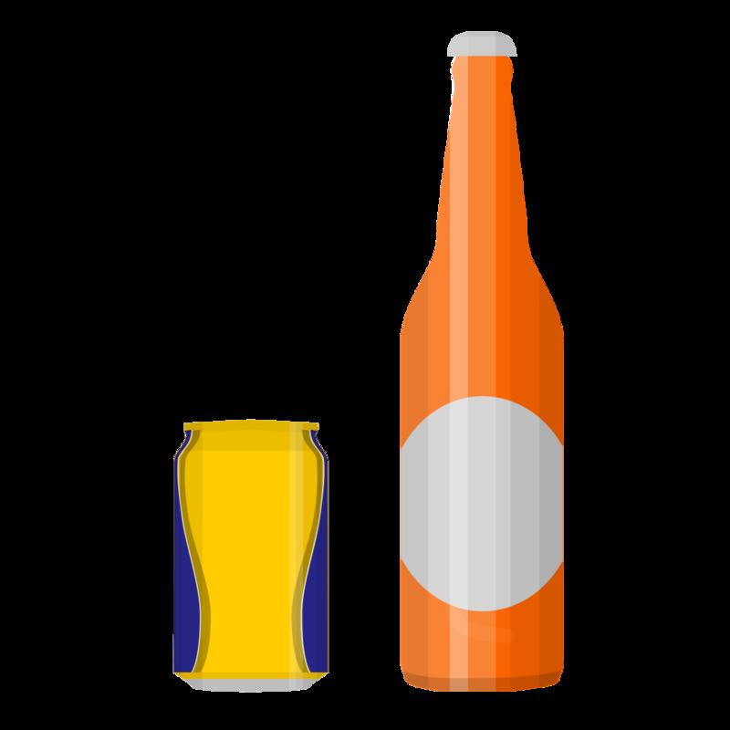 瓶ビールと缶ビールセット PNG