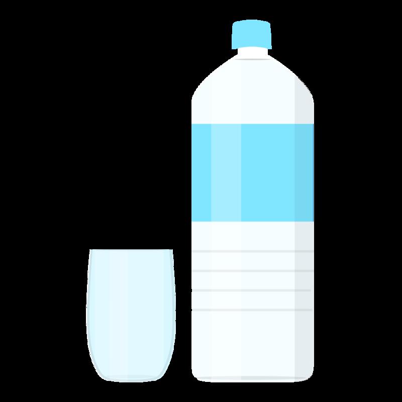 グラスの水とペットボトル PNG