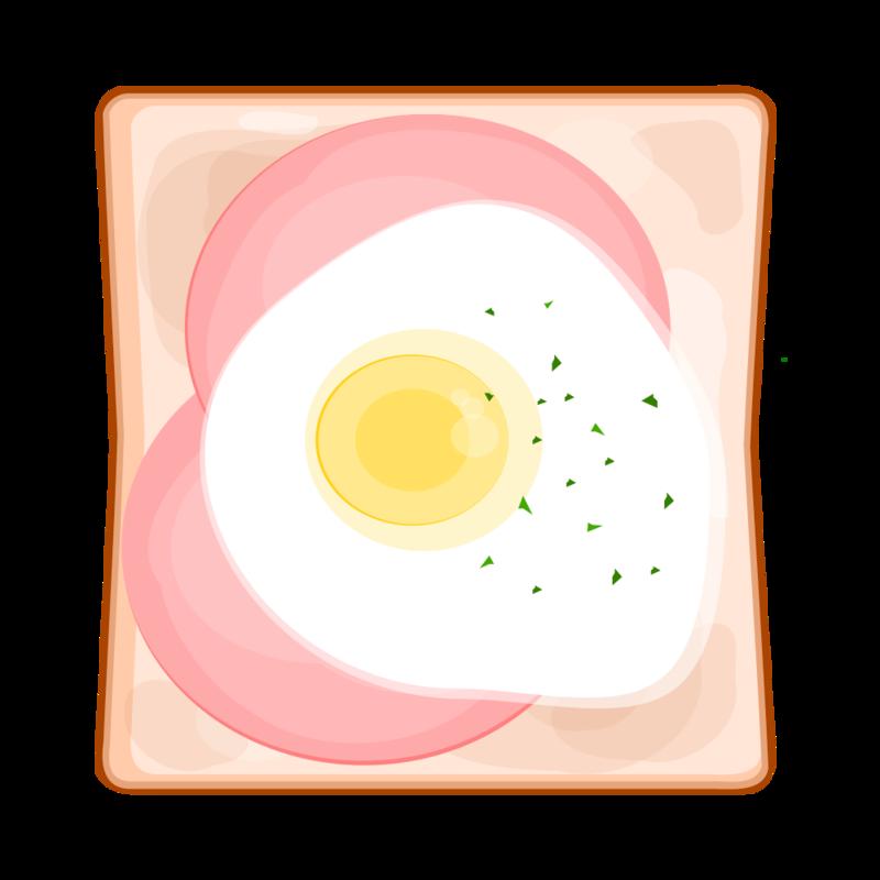ハムエッグトースト PNG